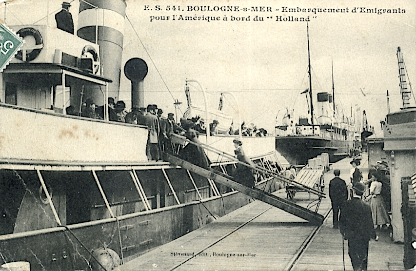Holland004 Embarkation of emigrants to the U.S.A. on  HA L- tender  at Boulogne. Home port Boulogne.jpg