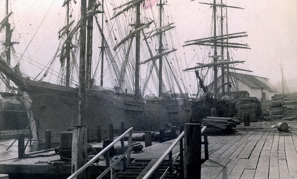Vancouver  -Lumber_ships_at_Hastings_Mill_1886-87_Major_JSM.jpg