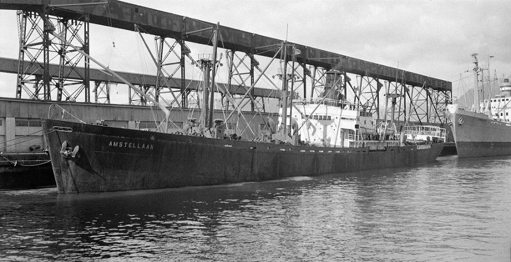 Amstellaan_NV Stoomvaart Mij Nederland at Vancouver in March 1958.jpg