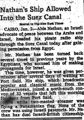 Krantenartikel - Nathans ship allowed into the Suez canal -1977.jpg